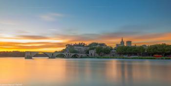 Avignon au petit matin depuis l'île de La Barthelasse (12/08/2016)