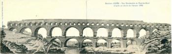 Environs d'Uzès-Vue Occidentale du Pont-du-Gard(d'après un dessin de l'époque 1699)