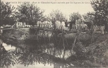 Travaux du génie - Pont de Chevalets bigues exécutés par les Sapeurs du Génie